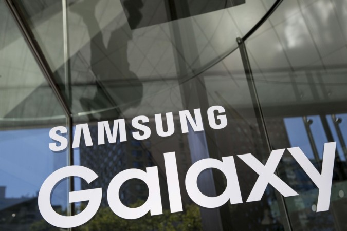 A Samsung Galaxy sign is seen at the Samsung Galaxy Unpacked event