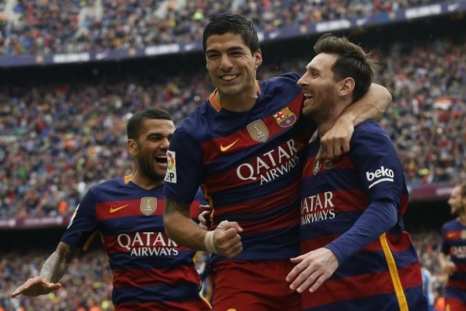 Dani Alves Luis Suarez Lionel Messi Barcelona