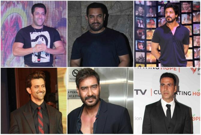 Clockwise: Salman Khan, Aamir Khan, Shah Rukh Khan, Akshay Kumar, Ajay Devgn, Hrithik Roshan
