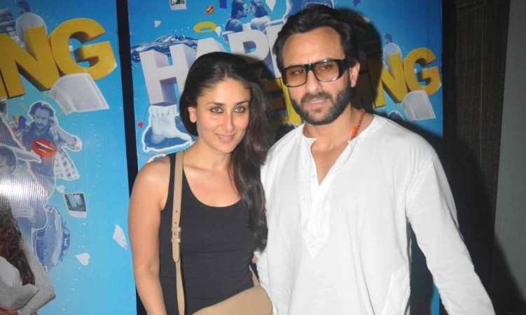 """Kareena Kapoor Khan and Saif Ali Khan are expecting their first child in December. Pictured: Kareena Kapoor Khan and Saif Ali Khan at """"Happy Ending"""" special screening"""