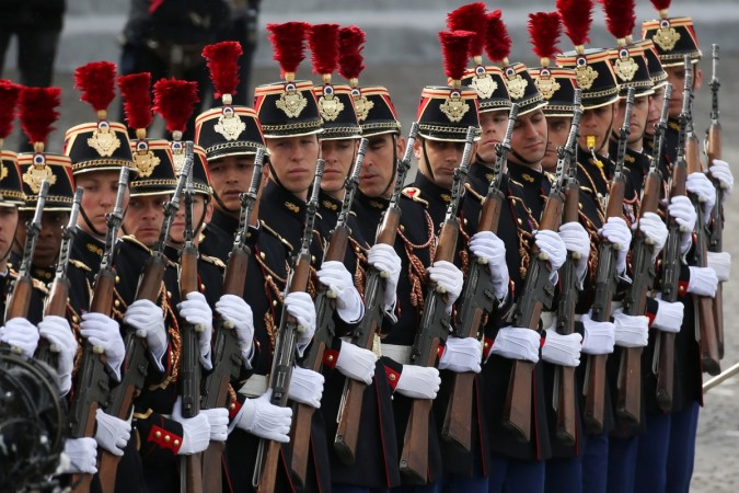 French Republicain Guards (Garde Republicaine) perform during the traditional Bastille Day military parade on the Place de la Concorde in Paris, France, July 14, 2016.