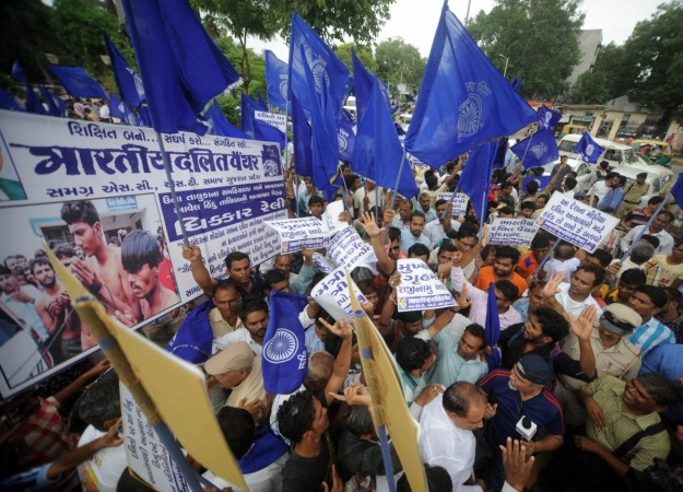 Bhartiya Dalit Panther (BDP) members stage a demonstration against Dalit Assault Case at Una, in Ahmedabad on July 19, 2016.