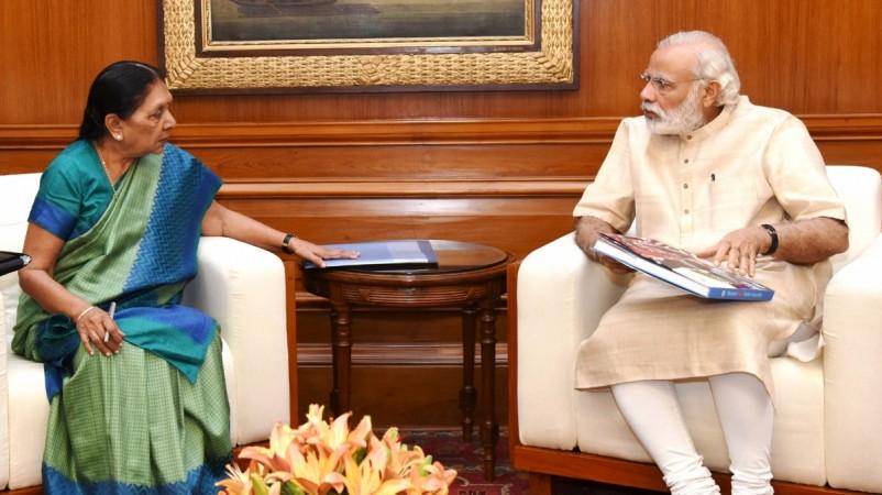 Gujarat Chief Minister Anandiben Patel calls on Prime Minister Narendra Modi in New Delhi, on May 16, 2016.
