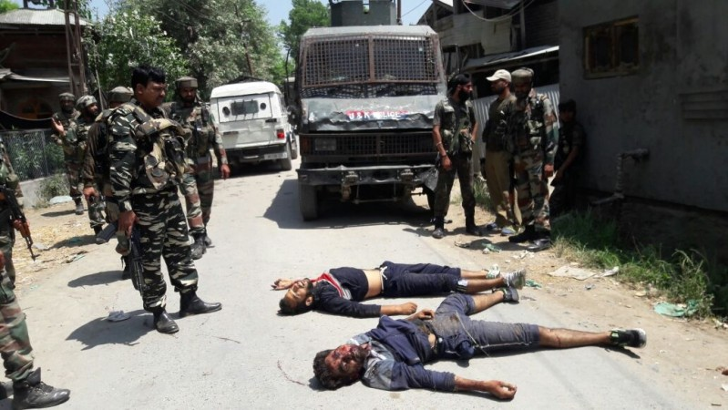 The alleged militants who were killed during an encounter with security personnel at Newa village in Jammu and Kashmir Pulwama district on June 30, 2016.