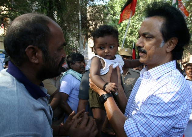 DMK treasurer MK Stalin during an election campaign ahead of Tamil Nadu Assembly polls in Chennai on May 12, 2016.