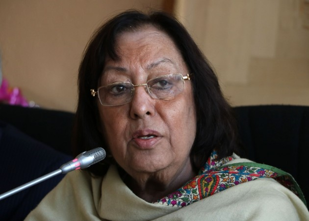 Union Minority Affairs Minister Najma Heptullah addresses a press conference in Srinagar, on Oct 12, 2015.