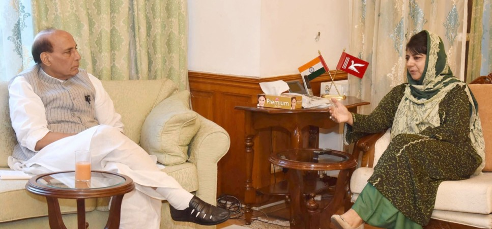 Union Home Minister Rajnath Singh meets Jammu and Kashmir Chief Minister Mehbooba Mufti in Srinagar on Aug. 25, 2016.