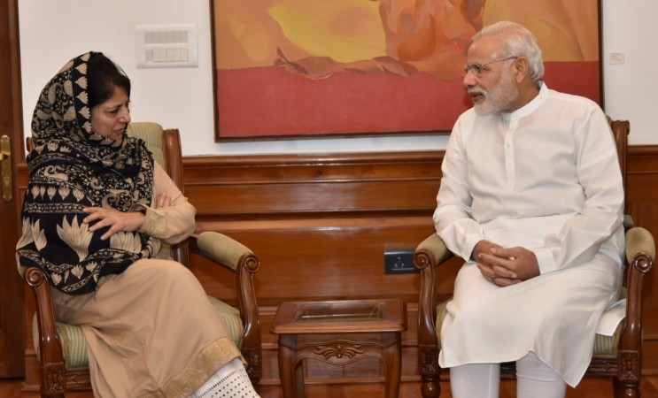 Jammu and Kashmir Chief Minister Mehbooba Mufti meets Prime Minister Narendra Modi in New Delhi on Aug. 27, 2016