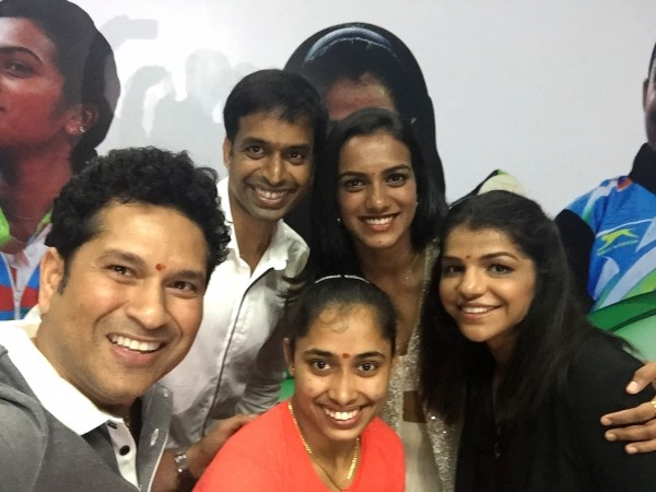 Sachin Tendulkar had clicked a selfie with some Rio 2016 stars and India badminton coach Pullela Gopichand.