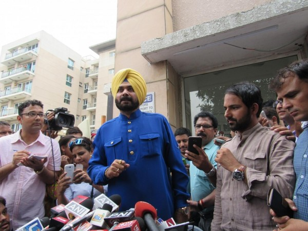 Cricketer-turned-politician Navjot Singh Sidhu addresses a press conference in New Delhi on July 25, 2016