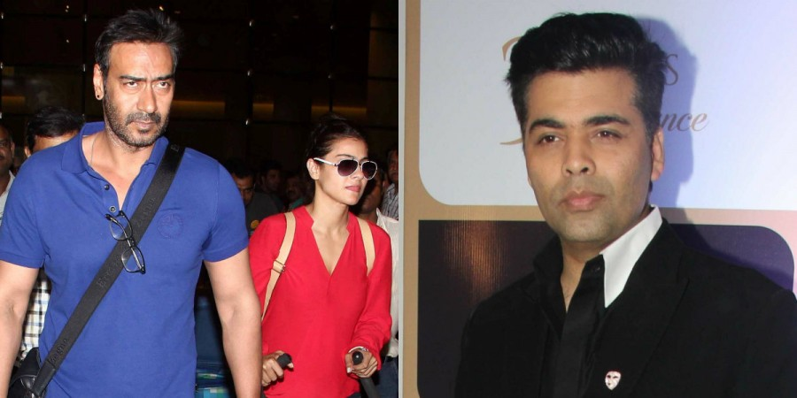 Ajay Devgn-KRK row: This is what Karan Johar has to say about allegation made against him. Pictured: Ajay and Kajol at an airport, while Karan at an event