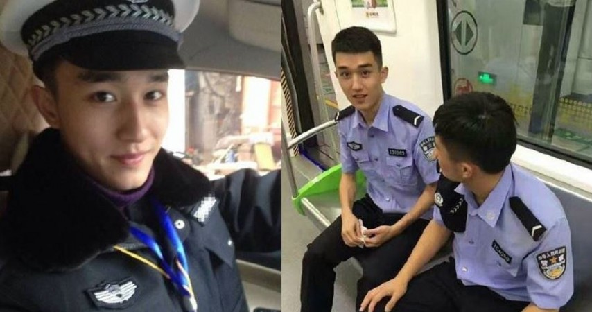 Handsome chinese police officer