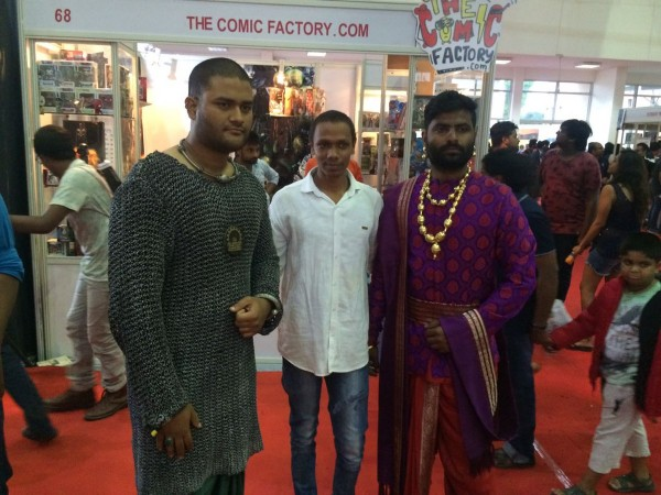 A fan dressed up as Baahubali at Comic Con India in Hyderabad