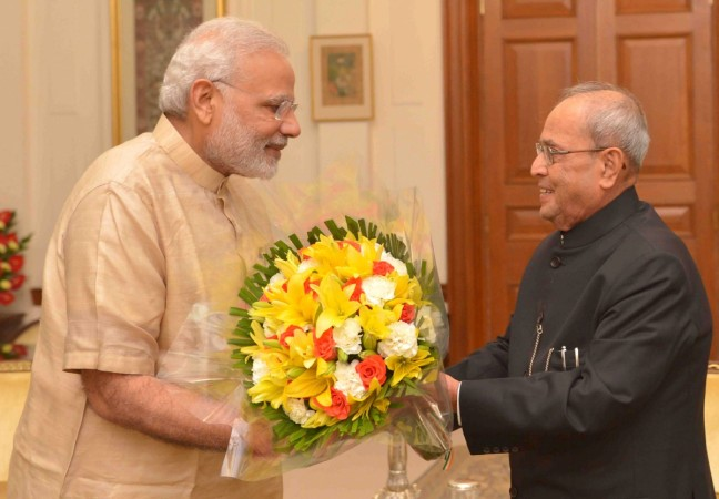 Pranab Mukherjee and Narendra Modi