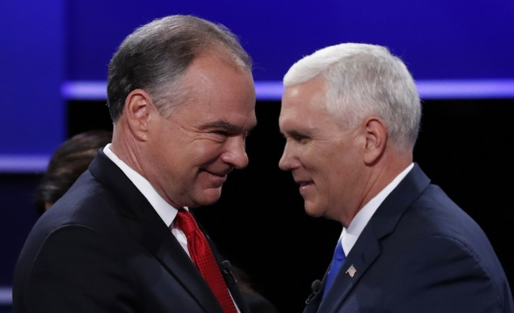 Democratic U.S. vice presidential nominee Senator Tim Kaine (L) and Republican U.S. vice presidential nominee Governor Mike Pence
