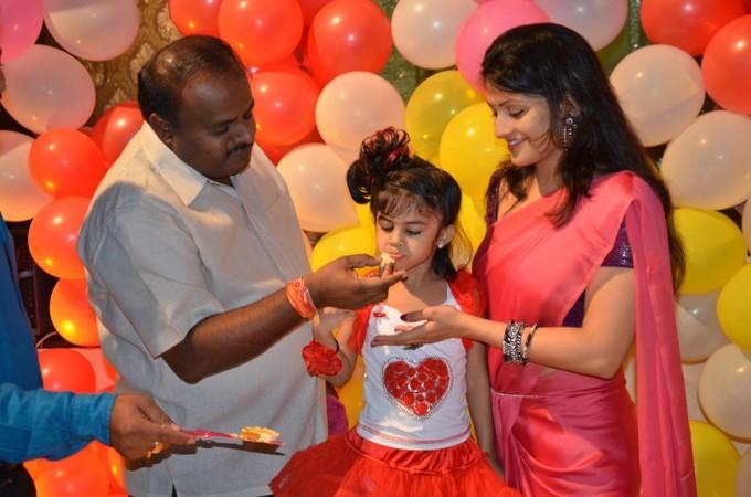 Radhika with her husband Kumaraswamy and daughter Shamika