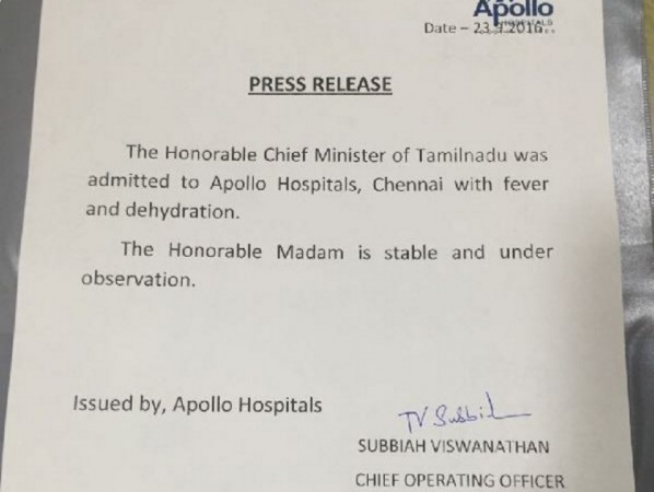 Apollo Hospitals' statement on Jayalalithaa's health