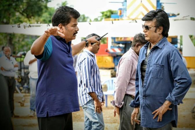 Shankar with Rajinikanth on 2.0 sets