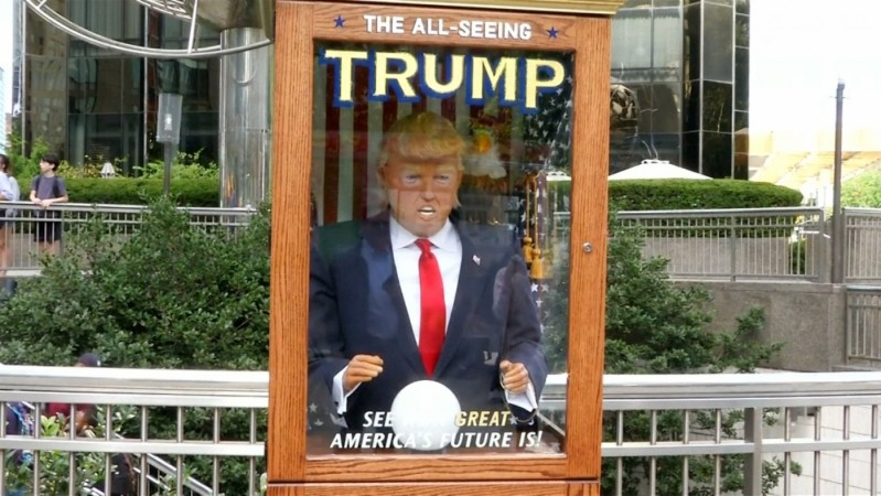 Fortune-telling Donald Trump appears on the streets of New York