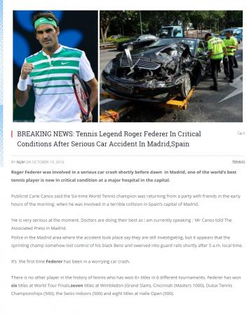 Roger Federer fake news