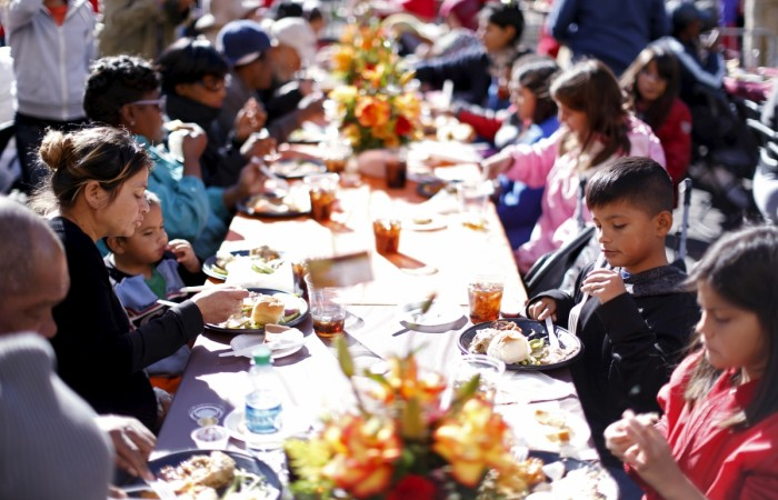 Thanksgiving meal is served to the homeless at the Los Angeles Mission in Los Angeles, California.
