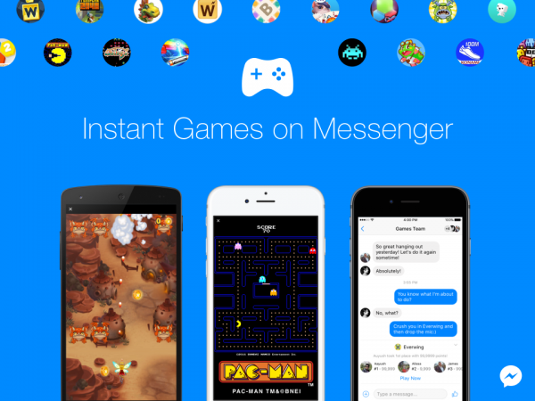 Pac-Man, Space Invaders and 15 other games on Facebook Messenger