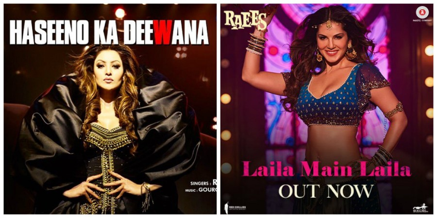 Urvashi Rautela in Haseeno Ka Deewana song from Kaabil (left) and Sunny Leone in Laila Main Laila song from Raees (right)