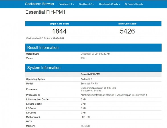 Essential FIH-PM1 , Geekbench, mobile, Andy Rubin,Google, Android co-founder, Apple, Samsung, Motorola,Lenovo