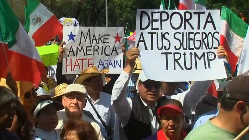 Thousands of Mexicans march against Donald Trump in Mexico City