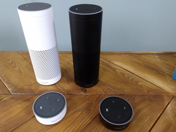 The Amazon Echo is seen at its product launch for Britain and Germany