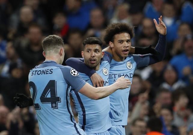 John Stones, Sergio Aguero, Leroy Sane, Manchester City, Monaco, Champions League, last 16