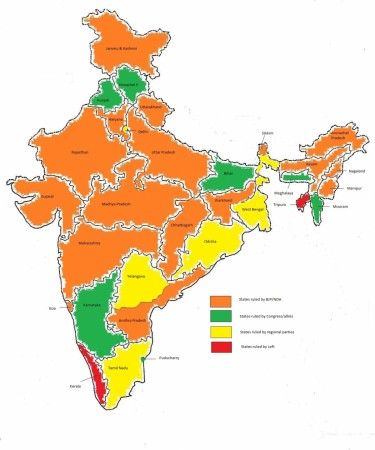 States of India ruled by BJP and Congress after Assembly Elections 2017