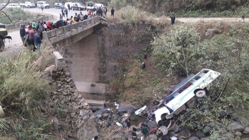 Bus accident at Chakhumai bridge in Manipur