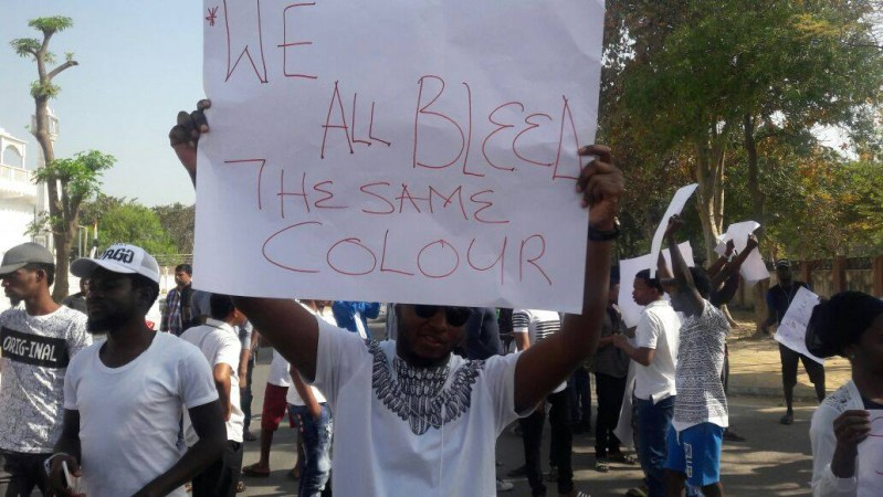 african students protest in greater noida