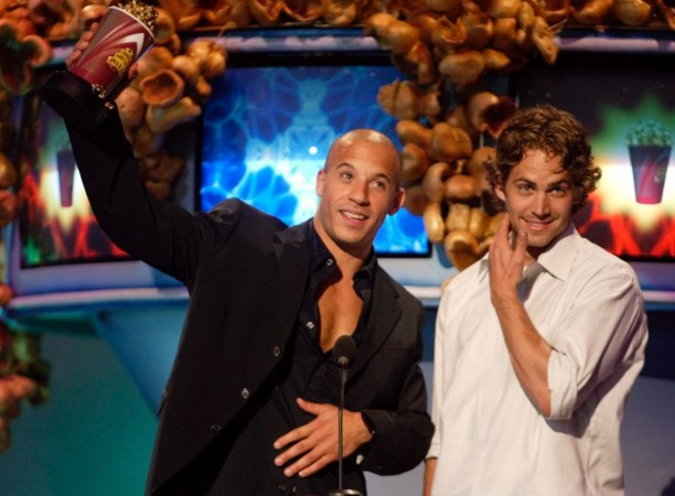 Actors Vin Diesel (L) and Paul Walker accept their award for Best On Screen Team