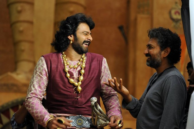 Prabhas with SS Rajamouli on Baahubali 2 set