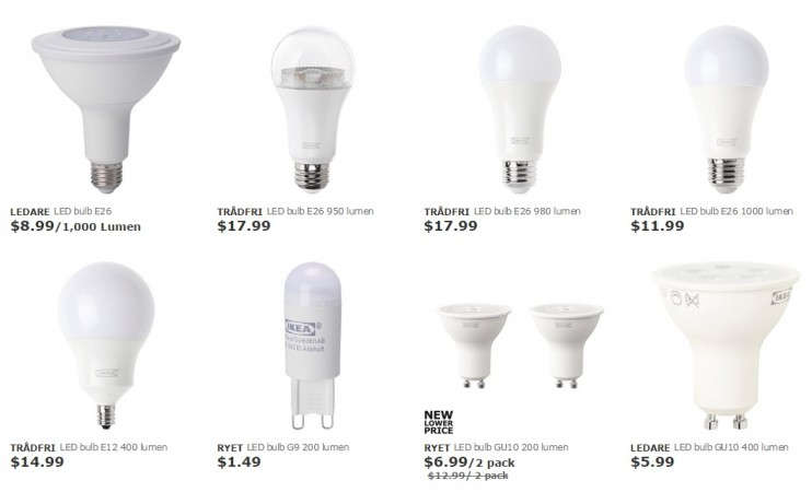 IKEA smart bulbs as seen on its website