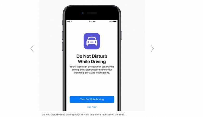 Apple iOS 11, Do not disturb while driving, features,