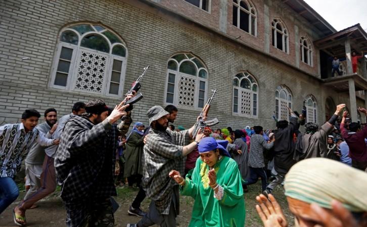 Hizbul Mujahideen terrorists in Kashmir