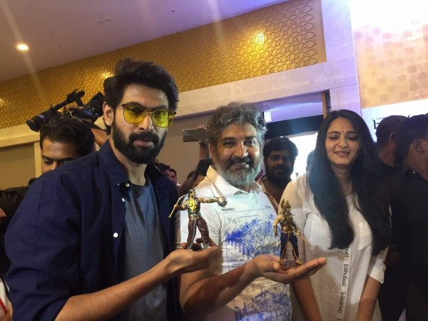 Rajamouli, Rana and Anushka at Baahubali toys launch