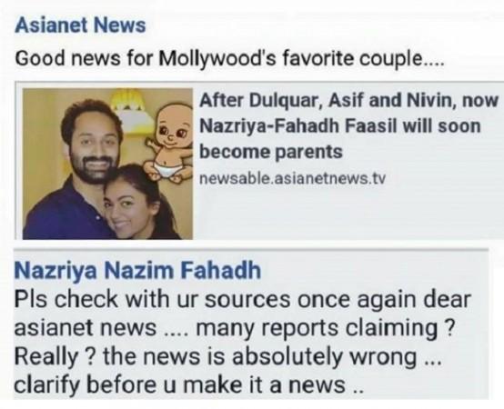 Nazriya Nazim, Fahadh Faasil, Nazriya Pregnant