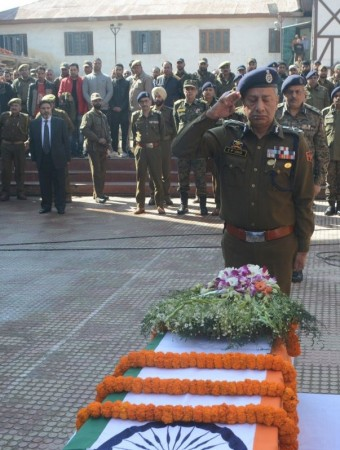 Feroz Ahmed Dar and the five other policemen's wreath laying ceremony.