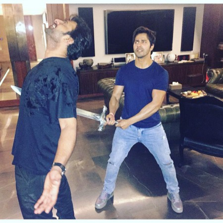 Varun Dhawan and Prabhas recreate 'Katappa killed Baahubali' moment
