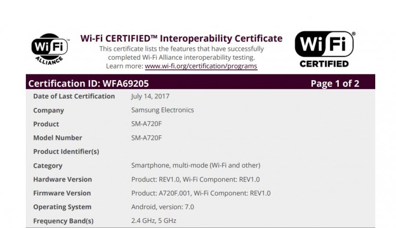 Samsung, Galaxy A7 2017, Wi-Fi Alliance certificate, Android Nougat release