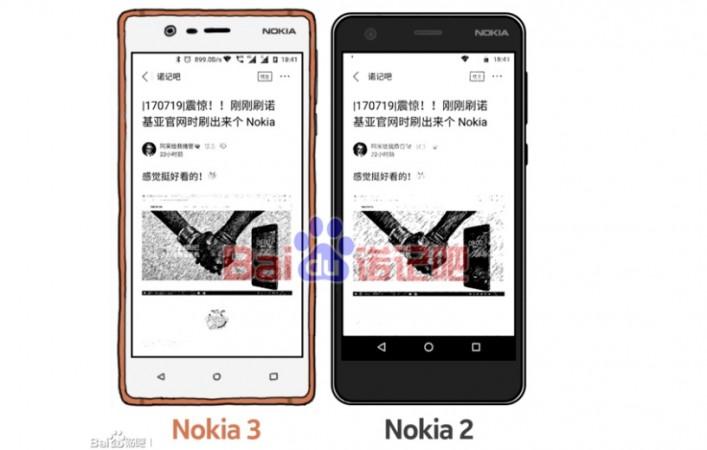 Nokia 2 with Nokia 3 as seen on Baidu