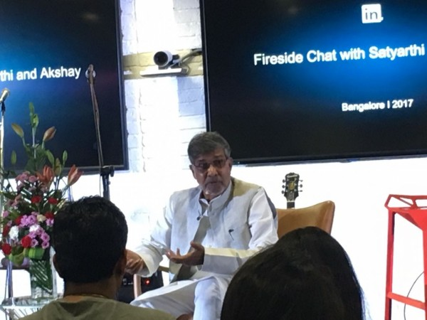Nobel Peace laureate Kailash Satyarthi addressing LinkedIn India employees