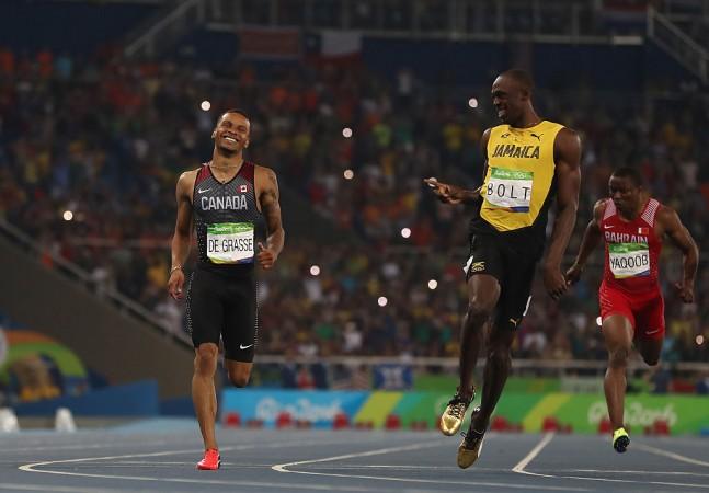Andre de Grasse and Usain Bolt