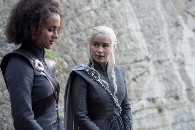 Emilia Clarke and Nathalie Emmanuel in a still from Ep 4 'Spoils of War'