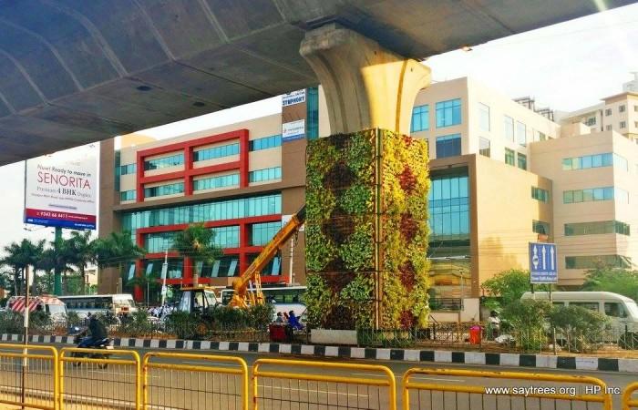 Bangalore, Vertical Garden, Metro Pillar