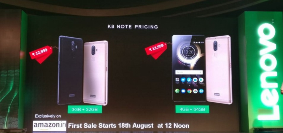 Lenovo K8 Note India price, specifications, availability